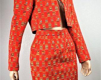 Vintage Yves Saint Laurent Rive Gauche Paris Dress Suit - Eu 34 Us 4  XS / 90s YSL Paris Haute Couture / Designer Crop Jacket Pencil Skirt