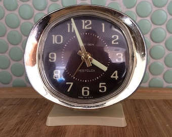 Vintage WESTCLOX BABY BEN Alarm Clock Black with Brass Trim - circa 1960's