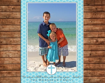 Christmas Holiday Photo Card Turquoise - Can Personalize - Printable File or Printed Cards