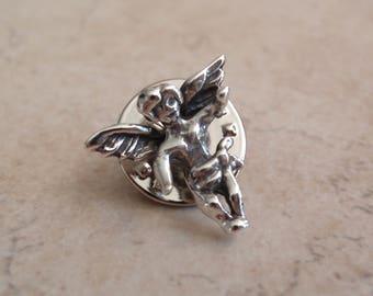 Sterling Silver Cherub Tie Tack Lapel Pin Angel Vintage V0744