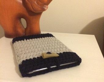 SALE READY to ship Crochet case for iPad Mini, iPad Mini case, grey and navy blue crochet case, iPad Mini case