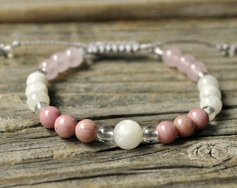Moonstone Beaded Bracelet, Rhodochrosite, Rose Quartz, Healing Bracelet, Meditation Bracelet, Yoga Bracelet, Fertility Jewelry, Passion
