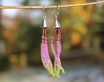 Fringe Earrings, Seed Bead Earrings, Tassel Earrings, Boho Earrings