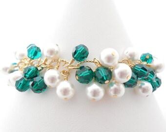 Emerald Green Swarovski Crystal Charm Bracelet, White Pearl Cluster Bracelet, Gold Bridal Jewelry, Bridesmaid Gift, Wedding Jewelry