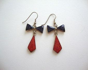 Bow Tie Earrings: Inlaid Triangles vintage alpaca red and purple geometric earrings