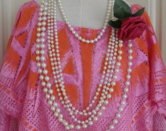 Orange and Pink Vintage Nottingham 1930's Silk Cotton Lace Crochet Shawl Cape Poncho