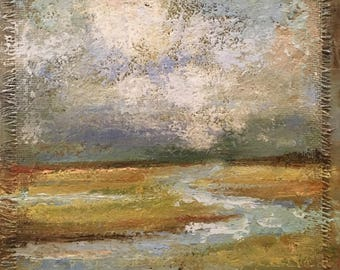 In Dreams *** Textured Marsh Landscape in oil 16x20. Canvas, burlap.