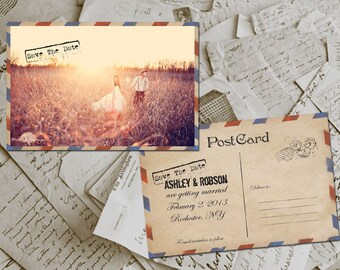 """Wedding Save The Date Card - Airmail e Photo Personalized 4""""x6"""""""