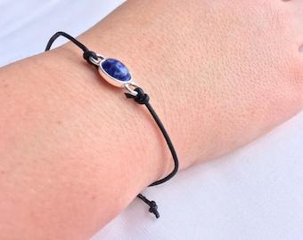 cute blue marble leather bracelet