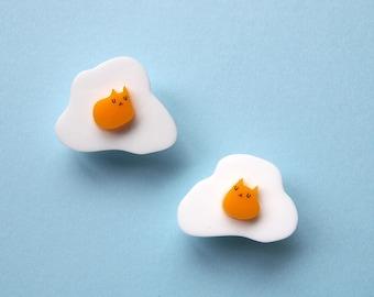 Pair of Fried Egg Cat Lapel Pins - Laser cut pin - Cat pin - Egg pin - Egg cat pin - Collar pin - Eggs - Cats - I like cats - Cat gift