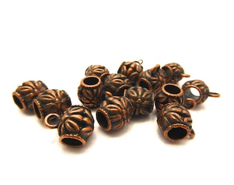 Tube bead bail copper metalwork, 10 mm, set of 8 Pcs