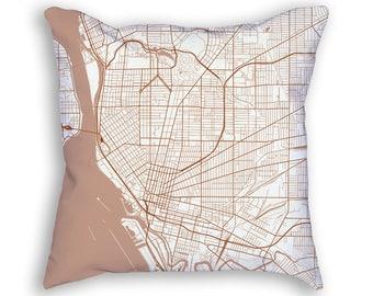 Buffalo New York City Street Map Throw Pillow