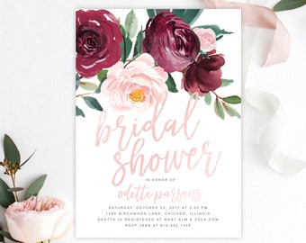 Bridal Shower Invitation, Marsala, Burgundy, Wine, Blush Pink Rose Florals, Greenery Bridal Shower Invite - Printed Printable - Odette