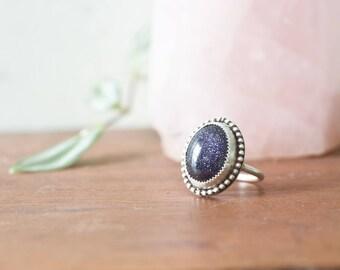 Blue Sunstone Ring Blue Goldstone Ring Blue Sandstone Ring Handmade Sterling Silver Ring Sterling Silver Stone Bezel Stone Ring Size 7