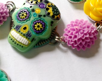 Multi color, day of the dead, skull flower bracelet