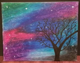 Colorful Galaxy Night Sky in Oil Pastel and Stars and Black Tree in Matte Acrylic Paint on a Canvas Art Drawing Handmade