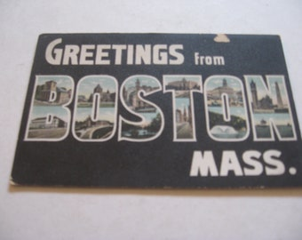 vintage souvenir Greetings From Boston Mass MA color picture large letter postcard unused