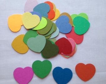 1 1/2 inch/ 36 pack/Hearts/multi color/scrapbooking/journaling/card making/embellishments/crafts/ready to use/cardstock/gift/ladies/collage