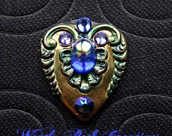Mermaid Heart Reusable Bindi - ATS Costuming, Tribal, Belly Dance, Steampunk, Third Eye, Rhinestone, Blue, Green, Brass