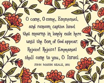 O Come, O Come Emmanuel floral christian wall art christmas print folk art christmas wall art christmas gift home decor botanical print