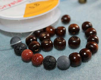 An easy BRACELET KIT with lava beads and goldstone