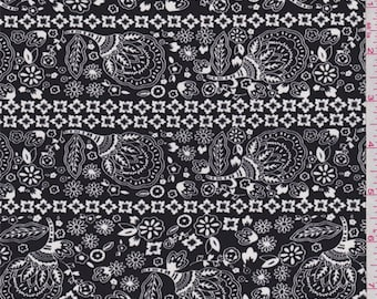 Black/White Floral Crepe de Chine, Fabric By The Yard