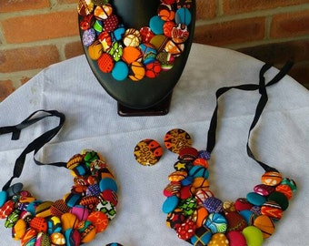 Ankara Jeneba Button Bib Necklace with Matching Earrings