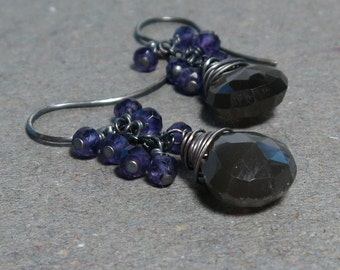 Gray Moonstone, Amethyst Earrings February Birthstone Cluster Oxidized Sterling Silver Gift for Wife Gift for Her
