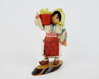 Vintage Figurine Soviet Folk Doll with Clogs Carrying a Basket Made of Wood and Plastic