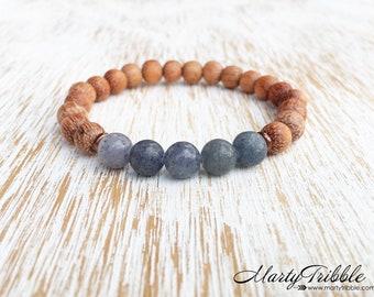 Aventurine & Raw Wood Bracelet, Blue Healing Crystal Bracelet, Gemstone Jewelry, 5th Chakra Bracelet, Mala Beads Bracelet, Buddhist Jewelry