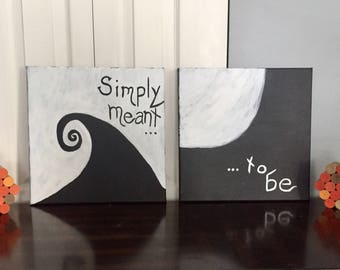 Canvas Set- Nightmare Before Christmas- 2 Piece Set- Black and White