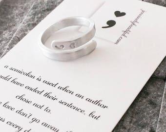Heart colon Ring -  Rings - Semicolon  - Colon Jewelry - Heart Semicolon - Awareness Jewelry