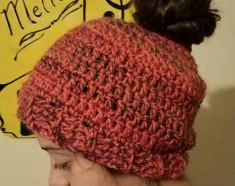Ready to Ship-- Messy Bun Hat--Pink and Multicolor