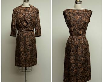 Vintage 1950s Dress • Autumn Floral • Brown Black Floral 50s Dress Set Size Small