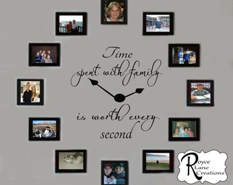 Time Spent with Family Decal- Time Spent with Family Clock Decal- Family Clock Decal- Time Spent with Family Wall Decal