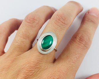 Size 7, Malachite Ring, Malachite Jewelry, Green Malachite, Stone Ring, Sterling Silver Ring, Green Ring, READY TO SHIP