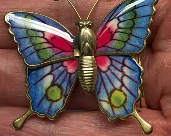 Butterfly Pin Vintage Goldtone Blue Brooch