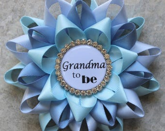 Baby Boy Shower, Shades of Blue Baby Shower Decorations, Baby Shower Pins, Grandma to be, Mommy to be, Light Blue, Ice Blue, French Blue