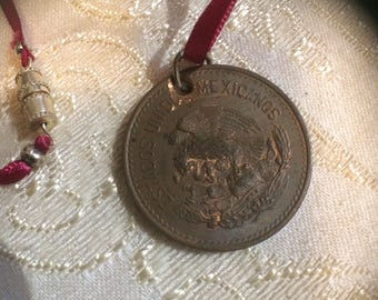 Burgundy Ribbon and Vintage Coin Necklace
