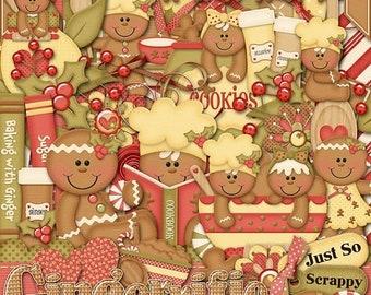 On Sale 50% Off Christmas Gingerrific Digital Scrapbook Kit, Holiday, Gingerbread