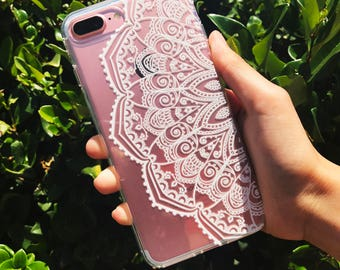 White Mandala Premium 3D Soft Clear TPU Silicone Case Cover For Apple iPhone 7, 7 Plus, 8 and 8 Plus