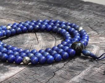 Lapis Lazuli Mala with Pyrite and Blue Tigers Eye