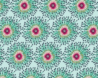 Clover Field PRS-212 - PRIORY SQUARE Limited Edition Floral Teal Navy and Purple Flower Burst  for Art Gallery Fabric