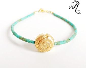 "Turquoise Gemstone bracelet - ""Dreaming of the sea"" - Gold plated Shell Bead - Friendship Bracelet"