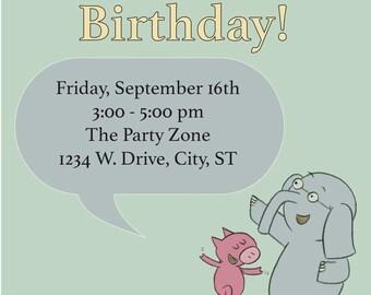 DIGITAL FILE: Elephant and Piggie Invitation