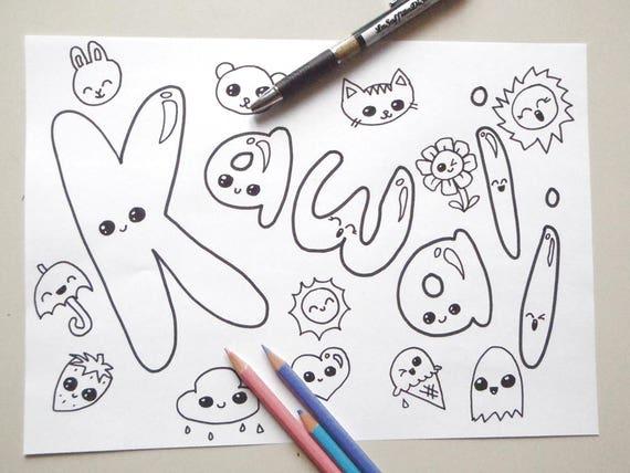Kawaii pagina da colorare bambini adulti chibi giappone manga for Immagini disegni kawaii