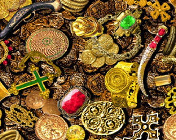 "1.75 Yds BURIED TREASURE Gold Pirate Chest Cotton Quilt Fabic Coins Money Jewelry - Last Piece - 1 yd and 27"" long x 45"" wide"