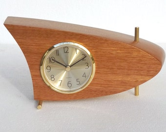 Danish Modern Mid Century Mantle / Table Clock, Mahogany