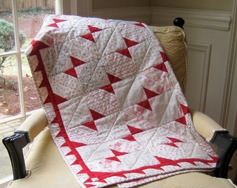 SALE -- Red, Black and Toile Baby Quilt