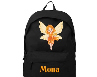 Black backpack fairy personalized with name